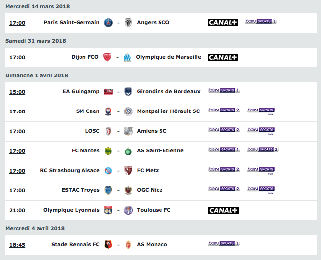 dimanche ligue 1 replay