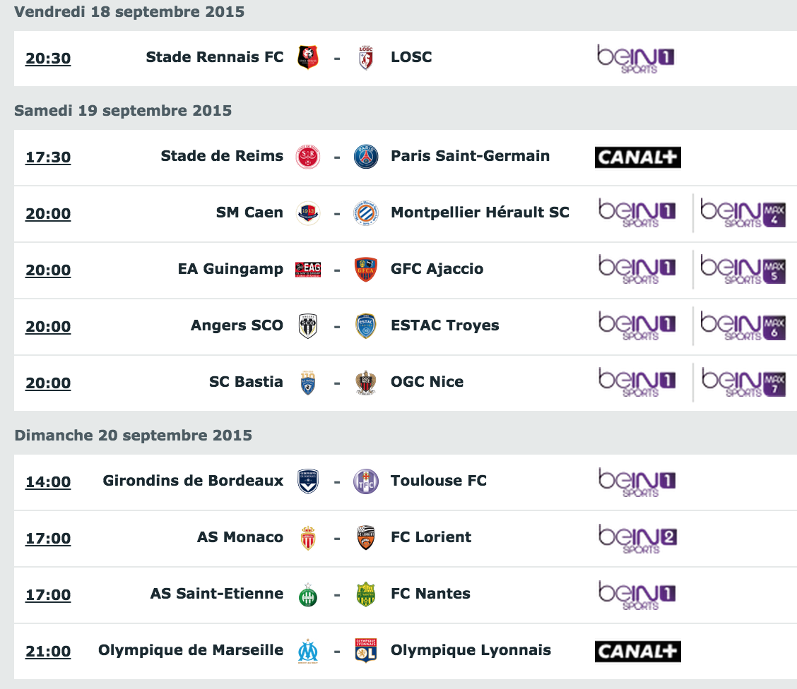[6e journée de L1] SM Caen 2-1 Montpellier HSC Programme_tv