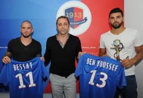 Vincent Bessat et la nouvelle recrue du SM Caen, Syam Ben Youssef, lors de leur présentation officielle à la presse régionale.
