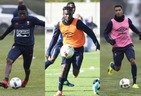 Romain Genevois, Durel Avounou et Emmanuel Imorou, trois des huit internationaux du Stade Malherbe ayant rejoint leur sélection cette semaine.