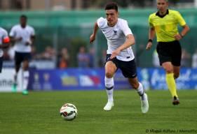 """Malgré la défaite de l'équipe de France U20 contre l'Ecosse (1-0), Jessy Deminguet n'oubliera jamais cette rencontre où il a fêté son baptême du feu sous le maillot """"Bleu""""."""