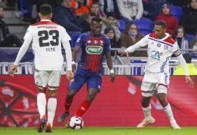 Après son but en 8e de finale, Casimir Ninga a réduit le score hier soir face aux lyonnais en 1/4 de la Coupe de France