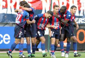 La joie des Caennais lors de la première victoire de la saison après cinq matchs sans victoire