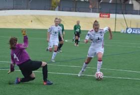 Émilie Giffaut a inscrit le premier but des Caennaises en éliminant la gardienne de l'US Alençon hier après-midi