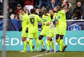 La joie des Caennais après l'unique but de la rencontre inscrit par Anthony Gonçalves en première période