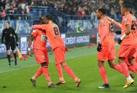La joie des Caennais après l'ouverture du score d'Ismaël Diomandé face à l'OL en Coupe de France