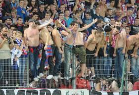 La joie des supporters caennais lors de la dernière rencontre face aux Havre AC au Stade Michel d'Ornano (1-0)