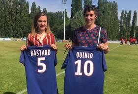 Tatiana Bastard et Léa Quinio ont été présentées au public lors du Trophée des Normands sur la pelouse de l'USON Mondeville