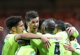 La joie des joueurs du Stade Malherbe après l'ouverture du score de Jessy Deminguet