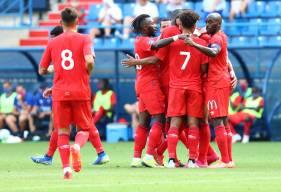 La joie des Caennais après l'ouverture du score de Yacine Bammou face à Amiens cet après-midi