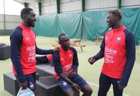 Alexandre Mendy fraîchement arrivé en Normandie s'est parfaitement intégré au groupe professionnel du Stade Malherbe