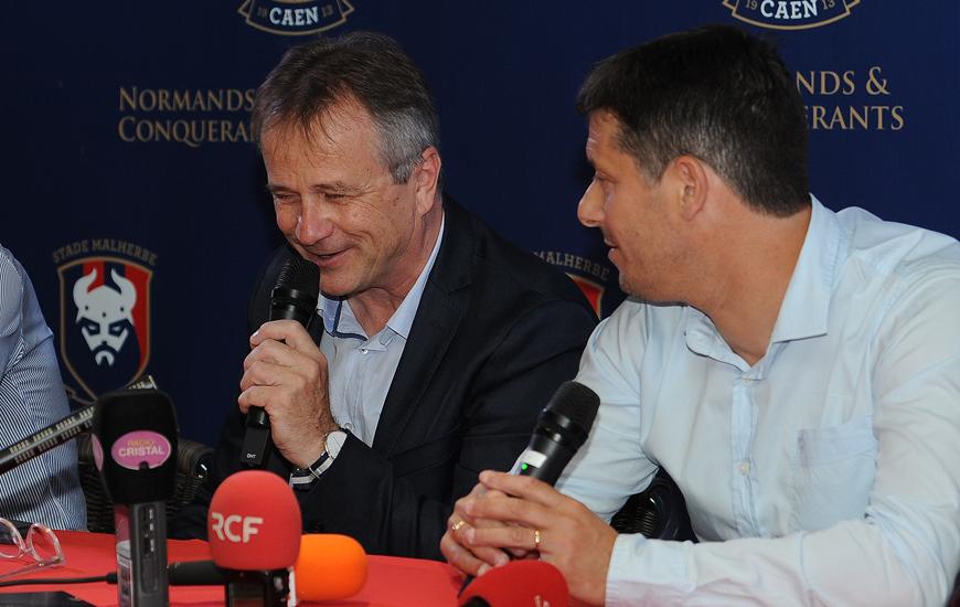 Gilles Sergent, Président du SM Caen, lors de la présentation à la presse de Fabien Mercadal et du nouveau staff du club