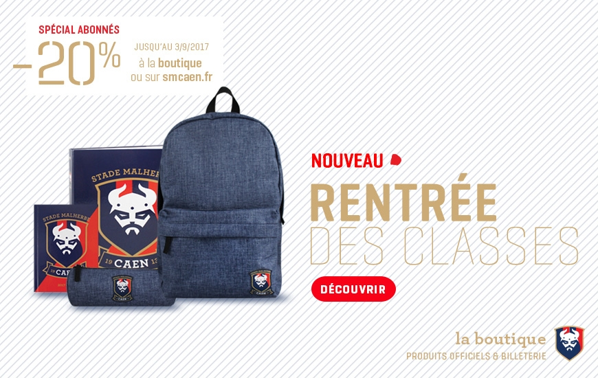 540b9ba80e3 Découvrez la collection rentrée des classes Stade Malherbe Caen à la  boutique officielle et sur boutique.smcaen.fr.