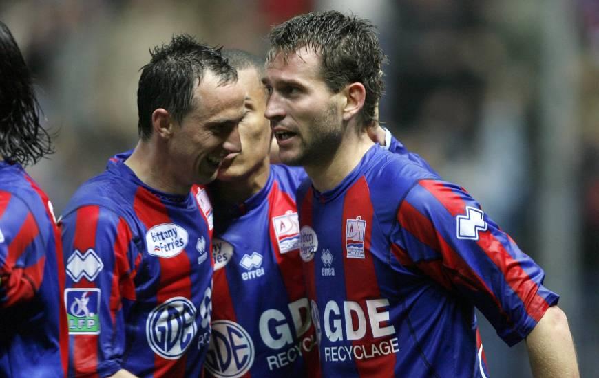 La joie de Nicolas Florentin et Lilian Compan lors de la victoire du Stade Malherbe face au Stade de Reims en 2007