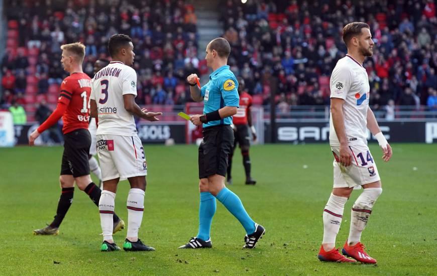 Yoël Armougom a reçu un carton rouge après 35 minutes de jeu, les caennais n'ont jamais su relever la tête après cette expulsion