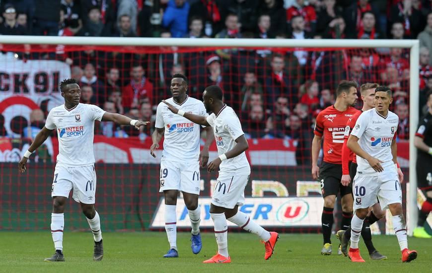 La joie de Casimir Ninga et Ismaël Diomandé après l'ouverture du score de l'attaquant caennais à la 20e minute