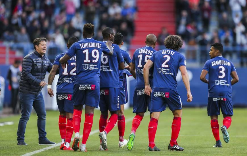 La joie des joueurs de Fabien Mercadal lors du troisième match nul de la saison à domicile face au Montpellier HSC