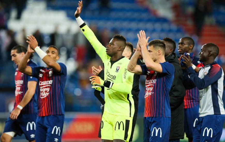 La joie des joueurs du Stade Malherbe Caen après la victoire face à Amiens samedi soir à d'Ornano