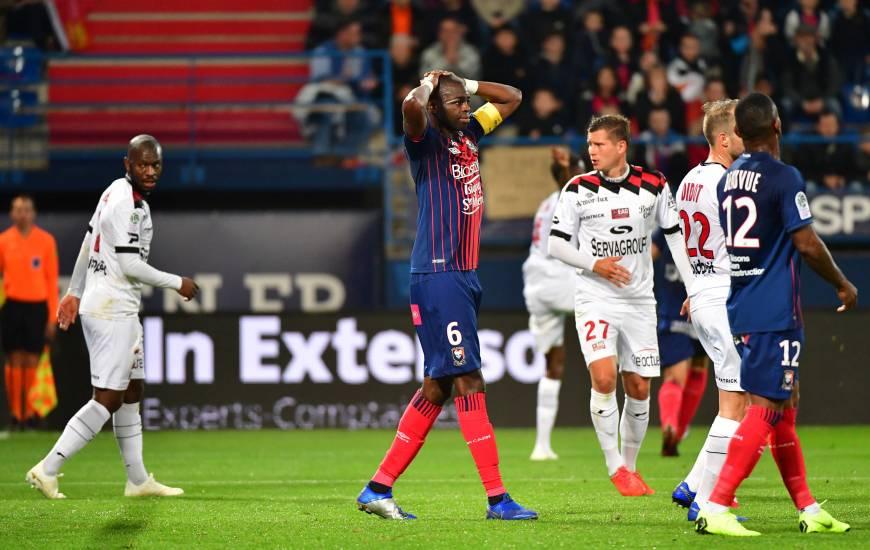 La déception de Prince Oniangué, le capitaine caennais aurait pu ouvrir le score en fin de première période après un corner caennais.