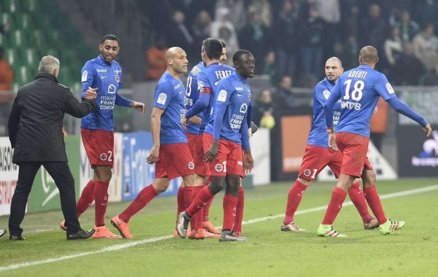 La joie de Ronny Rodelin et des caennais après la victoire sur le terrain de l'AS Saint-Etienne en 2015/2016