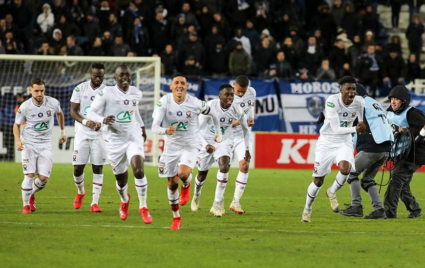 La joie des joueurs du Stade Malherbe Caen après la qualification pour les quarts de la Coupe de France