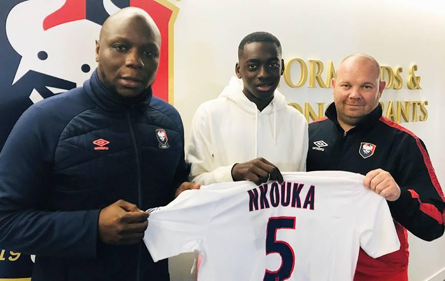 Philippe Nkouka aux côtés de Djibi Diao et Tony Monnier après s'être engagé avec le Stade Malherbe Caen