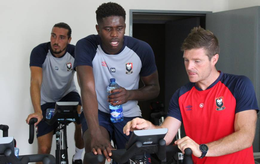 Brice Samba et Emmanuel Lepresle lors de la reprise du groupe professionnel la saison dernière
