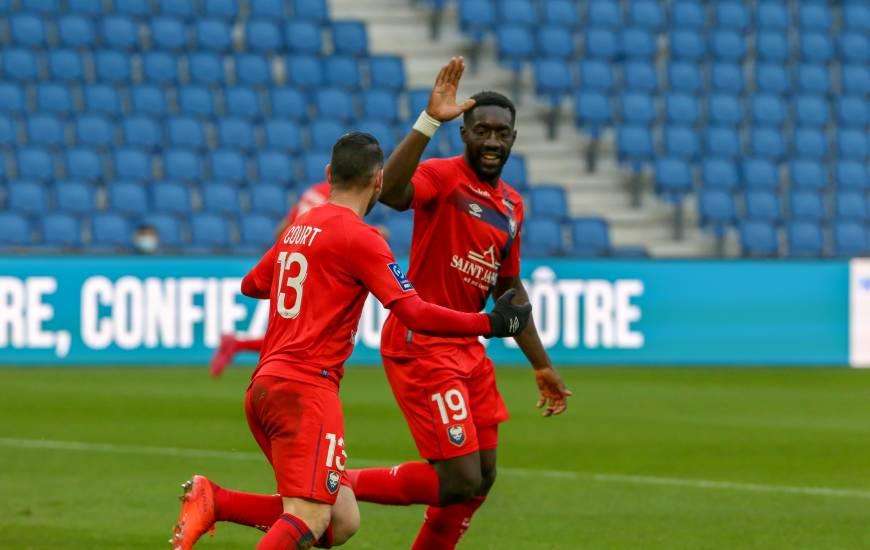 Yoann Court a inscrit son premier but son les couleurs du Stade Malherbe Caen hier après-midi