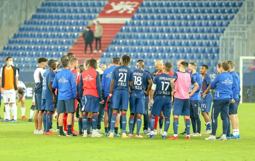 Les joueurs du Stade Malherbe Caen comptent sept points après cinq journées de Ligue 2 BKT