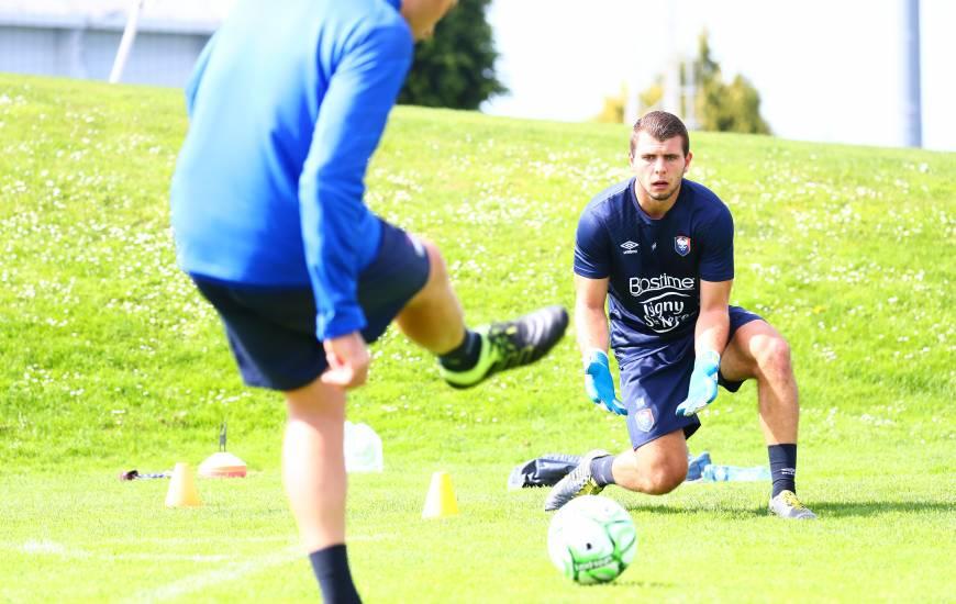 Thomas Callens et les autres gardiens du Stade Malherbe Caen ont pu bénéficier d'une séance spécifique ce lundi matin