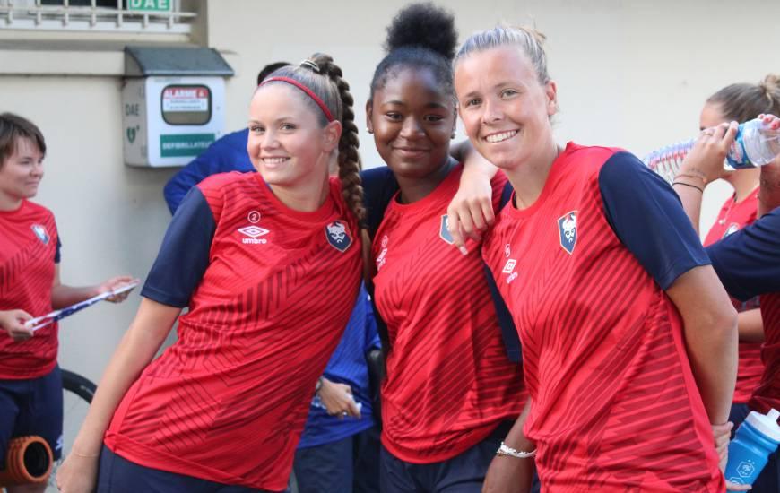 Clémence Palla, Tracy Nkodia et Émilie Giffaut hier en fin de journée lors de la reprise de l'entraînement