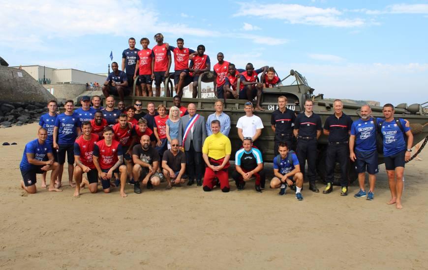 Les joueurs du Stade Malherbe Caen ont pu profiter de la précense de deux véhicules amphibie pour cette journée de cohésion
