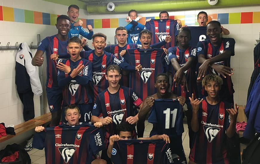 La joie des U17 Nationaux qui sont en tête du classement avec un match en retard qu'ils disputeront mercredi après-midi face au Havre