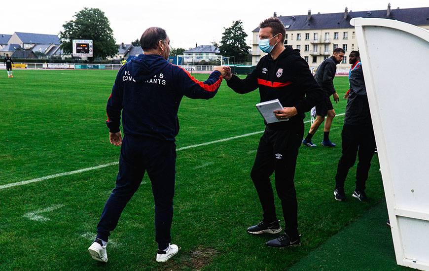 Stéphane Moulin et Stéphane Dumont après la rencontre amicale face à l'En Avant Guingamp hier soir